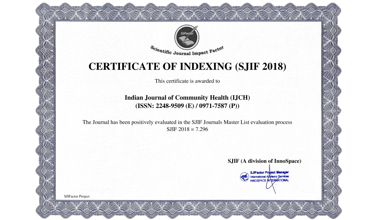 Ijch Sjif 2018 Indian Journal Of Community Health